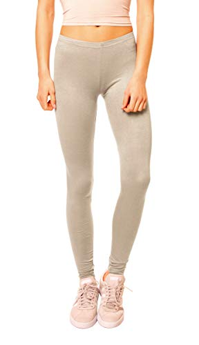 Easy Young Fashion Damen Basic Viscose Jersey Leggings Leggins Lang Uni Einfarbig One Size Beige