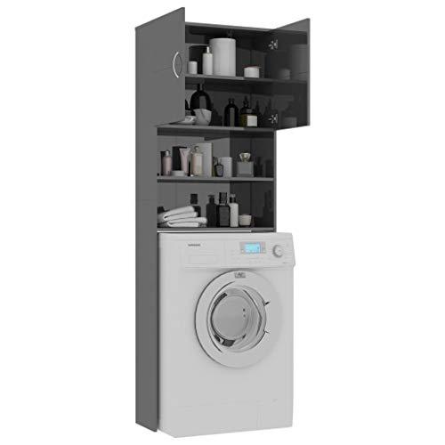 Tidyard Waschmaschinenschrank Hochschrank Badschrank Badezimmerschrank Badregal Badezimmer Schrank Toilettenregal, 64x25,5x190 cm (Hochglanz-Grau)