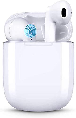 Bluetooth Kopfhörer in Ear, Kabellose Kopfhörer Apt-X Bluetooth 5.0 HiFi Stereo Sound True Wireless Earbuds mit Integriertem Mikrofon und Mini Ladehülle,Wasserdicht Unterstützt kabelloses Laden- Weiß