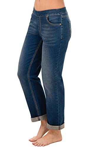 PajamaJeans Womens Stretch Jeans Denim - Loose Jeans for Women, Blue, S