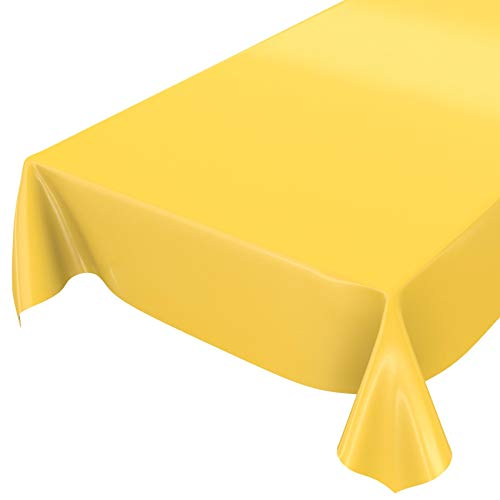 ANRO Wachstuchtischdecke Wachstuch abwaschbare Tischdecke Uni Glanz Einfarbig Gelb 200x140cm