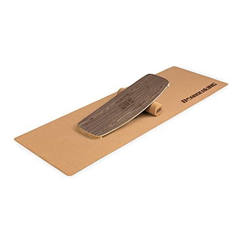 BoarderKING Indoorboard Limited Edition - Balanceboard, Waveboard, Trickboard, Rouleau de liège 10/40, Tapis de Protection de Sol antidérapant, Matériau: Bois et liège - Noyer