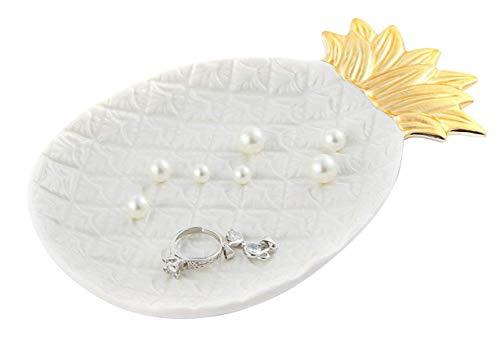 Lependor Cerámico Bandeja de placa para joyas Titular de la joyería Exhibición de la joyería Plato de anillo Organizador para llaves, teléfono, joyería, reloj - Piña de gran tamaño, Blanco