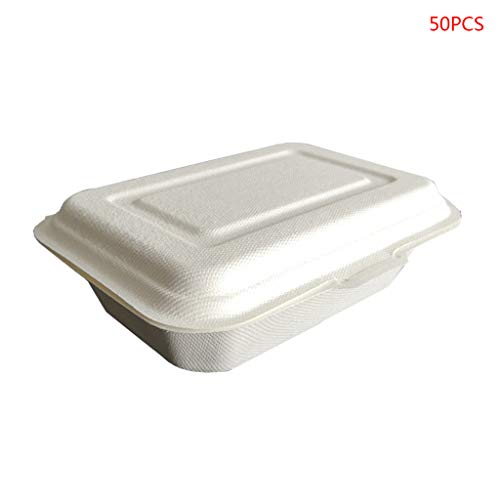 smallJUN 50Pz 450 Contenitori per Alimenti da asporto USA e Getta ecologici Pranzo al Sacco degradabile Pranzo al Sacco monouso Bianco