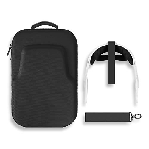 MASiKEN Oculus Quest 2 Head Strap and Carrying Case, Lens Spacer, VR Oculus 2 Accessories, Elite Strap All-in-one Travel Case, Inner Custom Padded Interior Shockproof with Shoulder Strap (Black)