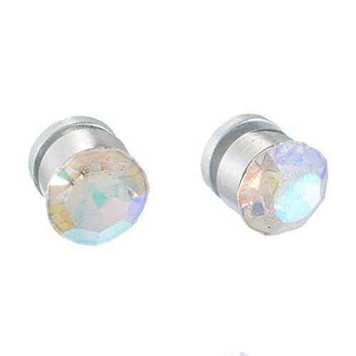 Unbekannt Bunte Kristall-Ohrringe, quadratisch, mit Saugnapf, magnetischer Stecker, Clip-On für Damen