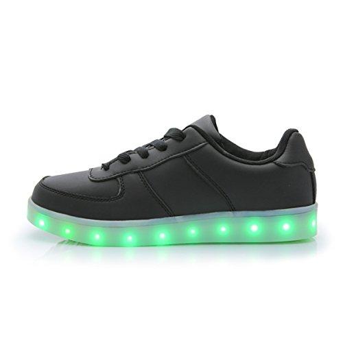 DoGeek Zapatos Led Niñas Deortivos para 7 Color USB Carga LED Luz Glow USB Flashing Zapatillas niño (Elegir 1 tamaño más Grande) (40EU, Negro 1)