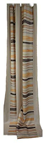 Horn textiles Fertigvorhang Camino Gardine Store Dekoschal Schlaufen - incl. Universalband Blickdicht Made in Germany ca. 135 x 245 cm Ecru/Braun/Honig
