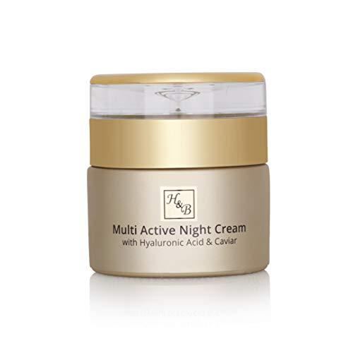 H & B Dead Sea Línea Premium Multi Crema Noche Activa con Acido Hialurónico y Caviar 50ml   1.76fl.oz