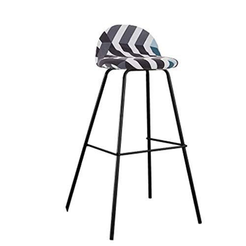 Chair Table de bar minimaliste moderne et chaises maison café créatif nordique tabouret haute tour chaise en fer forgé rouge sept couleurs en option A+ (Couleur : Rayure, taille : 75cm)