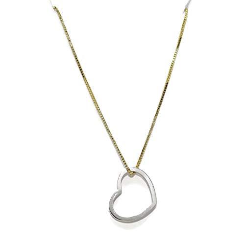 Never Say Never Collar con corazón de Oro de 18k de 40cm de Largo con corazón de 1.20cm de Ancho por 1.00cm de Alto. Cierre reasa.