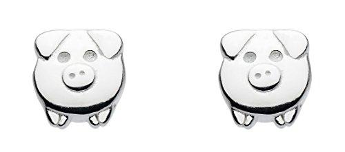Dew 4864HP - Pendientes de tuerca con diseño de cerditos (plata de ley)