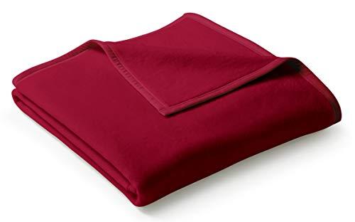 biederlack® flauschig-weiche Kuschel-Decke aus Baumwolle und dralon® I Made in Germany I Öko-Tex Made in Green I nachhaltig produziert I einfarbige Wohn-Decke Cotton Uni - Samt-rot in 150x200 cm
