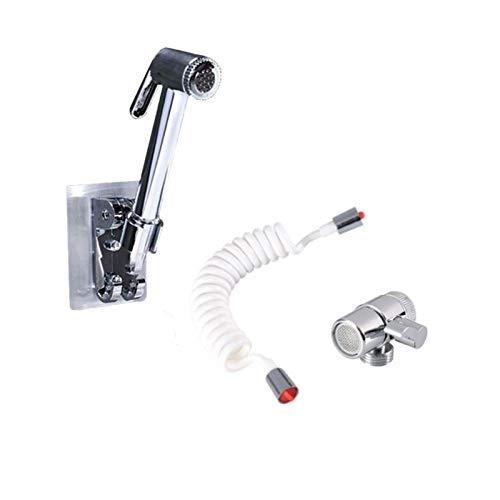 YANGPING HONGHUAER Grifo del baño Ducha Externa Rociador de Mano Pulsador de Mano + Base + Manguera + Conjunto de válvulas para lavamanos de lavamanos Grifo de Ducha (Color : A)