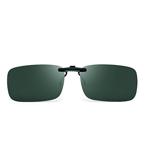 JM Sin marco Rectángulo Clip en Gafas de Sol Ligero Peso Polarizadas Anteojos Hombre Mujer(Verde Polarizado)