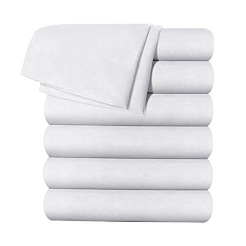 Balichun 6 Pack Flat Sheet Set -Premium Quality Sheet Soft and Breathable Wrinkle, Fade Resistant Bed Top Sheet for Hotel and Hospital Use,Queen Size White
