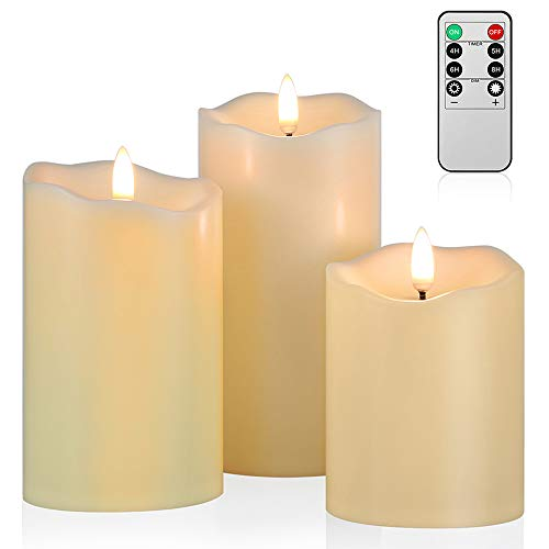 Upgraded Flickering Flameless Candles, Most Realistic LED Candles with Remote and Timer, Set of 3 Battery Operated Candles for Home Wedding Birthday Decoration