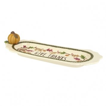 Grasslands Road Thankful Cheese Tray with Tooth Pick Holder 464583