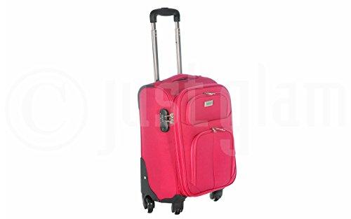 Trolley da cabina cm.55 valigia tessuto 4 ruote compatibile voli lowcost come Easyjet Rayanair art 1221 / fuxia
