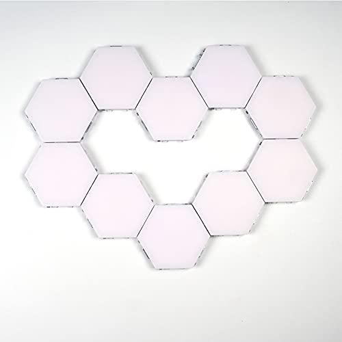 ZJING Luz Sensor de Atmósfera Táctil Inteligente, Luz de Pared LED Cuántica Hexagonal, Luz Táctil de Noche (con Hexágono Magnético) 3/6/8/9/10PCS,10pcs