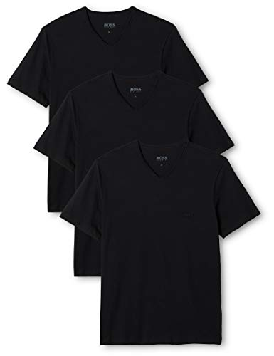 BOSS Herren VN 3P CO  Regular Fit T-Shirts,  Schwarz (Black 001),  L (3er Pack)