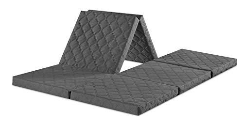 sleepling Twin Doppel-Klappmatratze Gäste Matratze auch für VW Bulli, als Sitzhocker mit Husse in 195 x 140 x 8 cm, grau