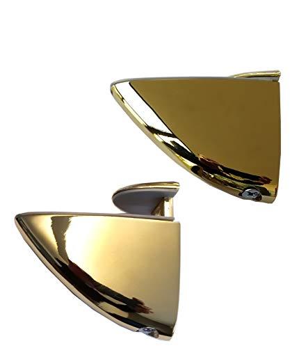 estanterias doradas y cristal