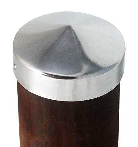 Pfostenkappe Zaunkappe Zierkappe Schutzkappe rund aus Edelstaqhl für runde Holzpfosten Pyramide inkl. Edelstahl-Schrauben (Ø 121 mm (für Rundpfosten d: 12 cm))