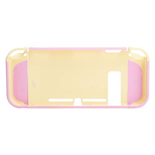Gamepad-Abdeckung, Gamepad Shell PC + ABS Mateial Split-Design mit bogenförmigem Griff für Home for Travel(Light Yellow+pink)