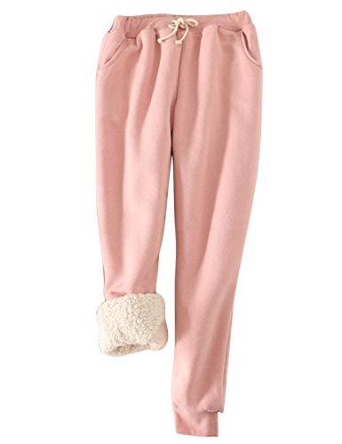 Yeokou Women's Warm Sherpa Lined Athletic Sweatpants Joggers Fleece Pants (Small, Pink)