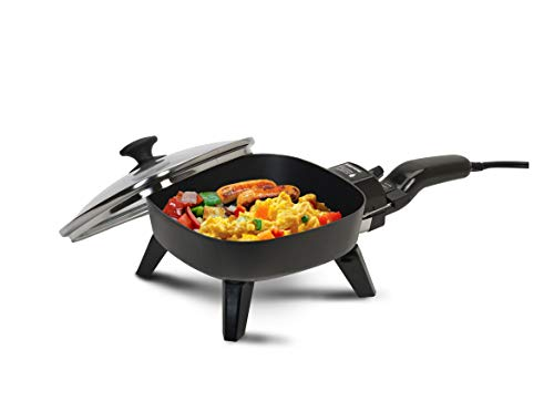 Elite Gourmet Personal Stir Fry Griddle Pan, Rapid Heat Up, 600 Watts PFOA-Free Non-stick Electric Skillet with Tempered Glass Lid, 7 inches, Black