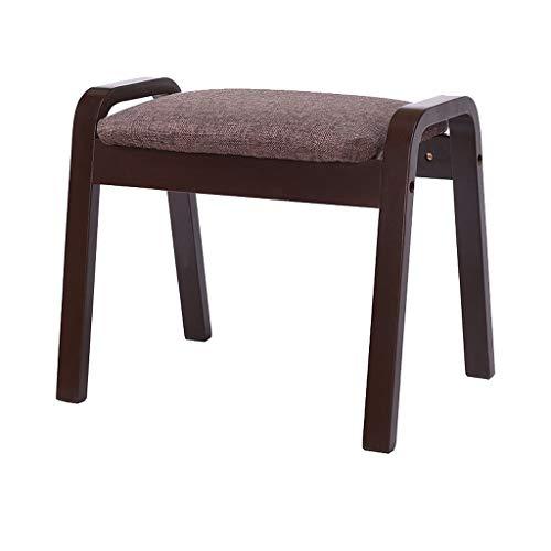 hsj LF- Taburete de sofá para el hogar de algodón y lino, taburete de nogal de tacón alto, simple y creativo para dormitorio, sala de estar, cómodo (color: marrón)