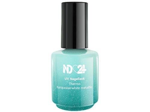 Uv/Led Effekt Nagellack Thermo Turquoise-White Metallic - Studio Qualität - Made in Germany - 15ml