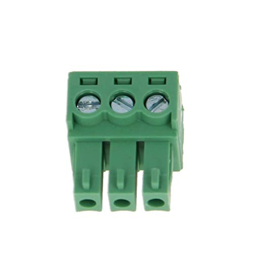 Fielect PCB Terminal Block 10Pcs 300V 8A 3.81mm Pitch 3P Flat Angle Needle Seat Insert-in PCB Terminal Block Connector Green