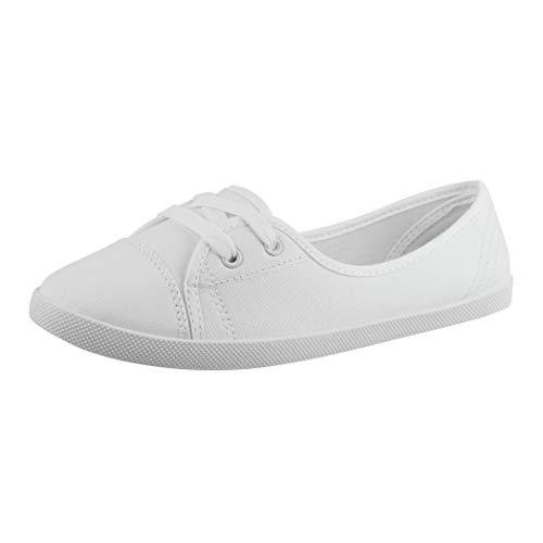 Elara Damen Ballerinas Sneaker Schnürer Chunkyrayan 3955A White-40