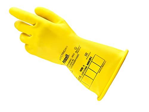 Ansell ActivArmr E014Y - Guantes aislantes de goma, protección eléctrica, voltaje 1000 V AC (1500 V DC), guante de trabajo eléctrico, EPI seguridad industrial, hombre mujer, amarillo, talla XL (1 par)