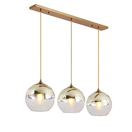 Zhixin-Lamp Esstisch Pendelleuchte Glas Kugel Leuchte Modern Einfach Hängeleuchte Höhenverstellbar Kronleuchter E27 Max. 60W Esszimmerlampe für Esszimmer Wohnzimmer Schlafzimmer,Gold,3flames~B