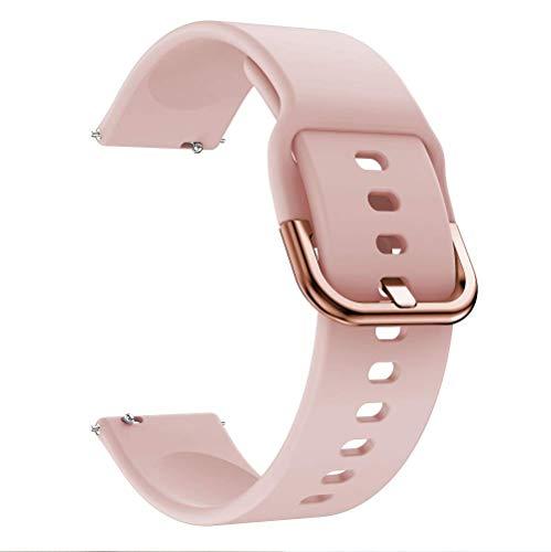 Correa de reloj universal de 20 mm, correa de silicona suave, de liberación rápida, ajustable, para hombres y mujeres, color rosa
