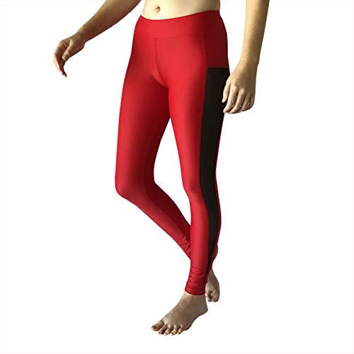 Girls' Activewear Dance Leggings Workout Pants for Gymnastics Yoga | Made in USA (Medium, Red)