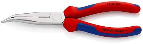 KNIPEX 26 25 200 Flachrundzange mit Schneide (Storchschnabelzange) verchromt mit Mehrkomponenten-Hüllen 200 mm