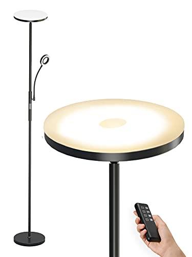 Anten Stehlampe LED Dimmbar | Schwarz Stehleuchte 30W mit flexibler 5W Leselampe | Modern Deckenfluter 2000LM mit 4 Farbtemperatur für Wohnzimmer, Schlafzimmer, Büro, Hotel