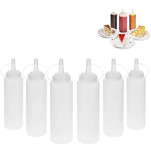 DERU Squeeze Bottle, 6 Pcs 8oz Botella de Salsa, Dispensador de Botellas de Plástico - Ninguna Fuga, Sin BPA, para Condimentos, Salsa de Tomate, Mostaza, Mayonesa, Salsa Picante Y Aceite De Oliva