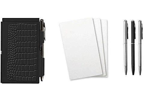 Wellspring Flip Note Notepad Set: Black Croc Flip Note, 3 Flip Note Refill Pads and a 3 Mini Pen Refill