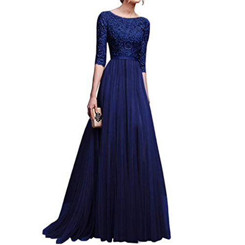 Saihui Dames Vintage Elegante Avondjurk, 2/3 Mouwen Bloemen Kant Backless Tulle Cocktail Prom Ball Gown Lange Maxi Bruiloft Bruidsmeisje Chiffon Jurken