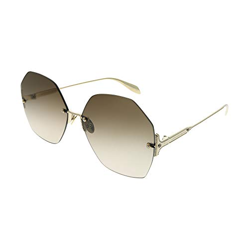 Alexander McQueen Gafas de Sol AM0178S Gold/Brown Shaded 64/15/135 mujer