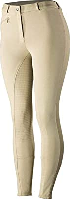 Horze Women's Active Silicone Grip Full Seat Riding Breeches With Zipper Pockets And Elastic Leg Bottom