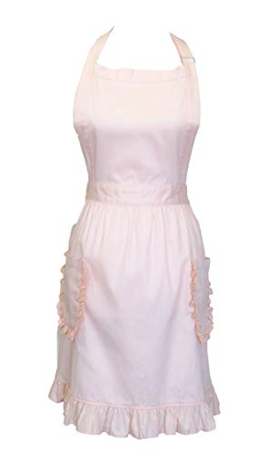 Apron for Women Ruffle Trim with Pockets Adjustable Straps Retro Kitchen Apron for Baking & Cooking (Blush Pink)