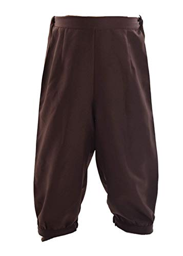 BLESSUME Retro Coloniale Uomini Fantasia Costume Corto Calzoni alla Zuava Equitazione Diavolo Pantaloni Steampunk Vittoriano Pantaloni (L, Marrone)
