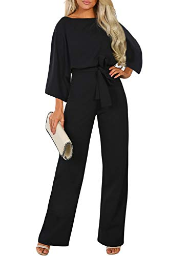 Happy Sailed Damen Langarm O-Ausschnitt Elegant Hosenanzug Playsuit Romper,,3 Schwarz,L