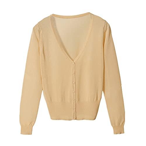N\P Colores Corto Cardigan Abrigo Verano Primavera Mujer Cuello Hielo Seda